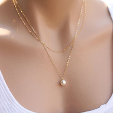 Имитация ожерелье с жемчужным кулоном для женщин золото серебро Цвет Длинная цепочка женский кулон ожерелье модное украшение, колье Femme