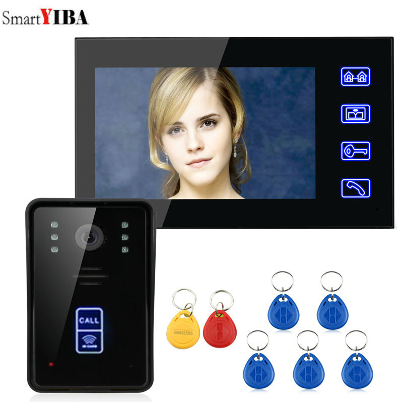 SmartYIBA 7 RFID Video Door Phone Intercom Doorbell Touch Button Video Intercom System Release Unlock for