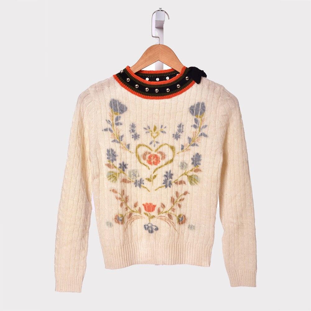 2019 Otoño e Invierno mujeres suéter de lana tejido Jersey cuello redondo estampado Mujer suéter de manga larga ropa Casual-in Pulóveres from Ropa de mujer    1