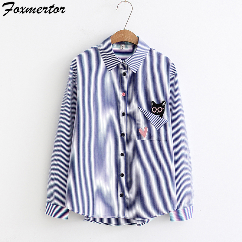 Embroidery Women Blouses 2019 Long Sleeve Shirts Female Cute Cats Embroidery Shirts Blue Striped Blouse Top Camisas Femininas XL blouse