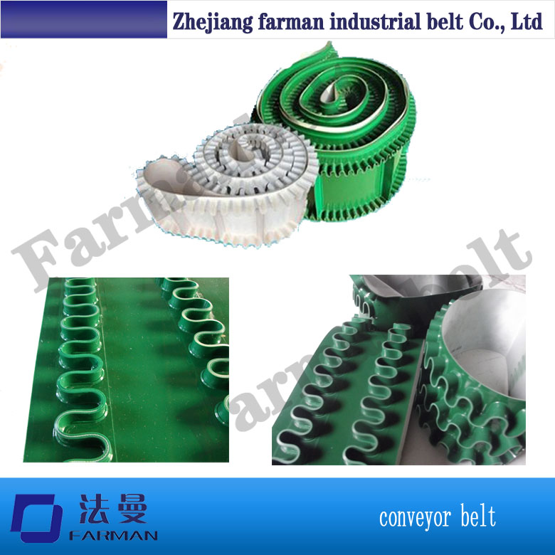 Custom manufacturers, PU white skirt belt corrugated sidewall Industrial conveyor belt, food grade conveyor bel недорго, оригинальная цена