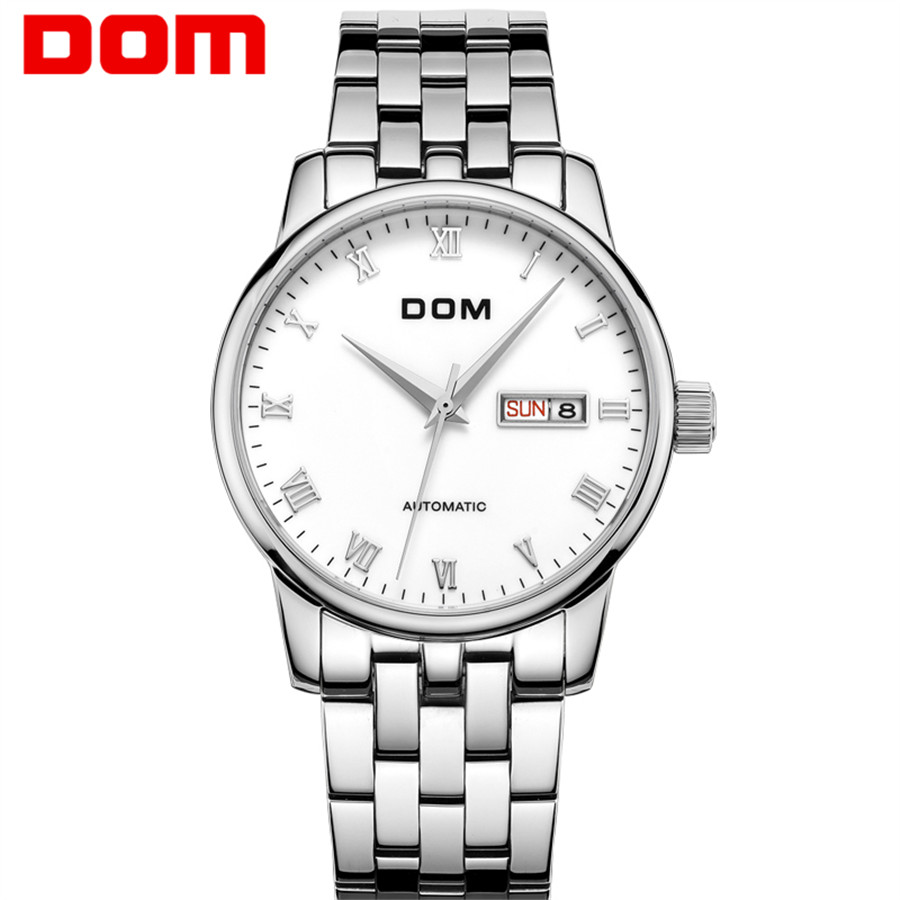 DOM Automatic Mechanical Skeleton Watch Sport Dial Stainless Steel Band Top Brand Luxury Montre Homme Clock Men Hot Sale 2018 top sale stainless steel mug automatic stirring mug automatic stirring 350ml with lid handle button design keep warm green
