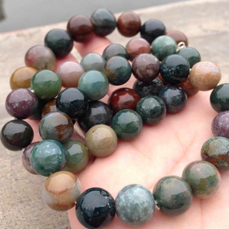 2016 naturalny kamień bransoletka wisiorek indyjski onyks klejnot kamienny koralik Pulseras Handmade prezent biżuteria dla mężczyzn i kobiet, rozmiar Chioce