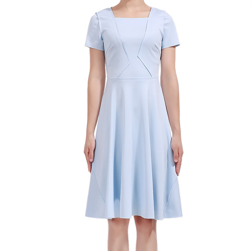2018 New Women Solid Dress Fashion Square Collar Short Sleeve Pleated Dresses