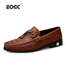 Купить с кэшбэком Natural Leather Men Shoes Loafers New Fashion Slip On Breathable Driving Shoes Plus Size Autumn Winter Casual Shoes Dropshipping