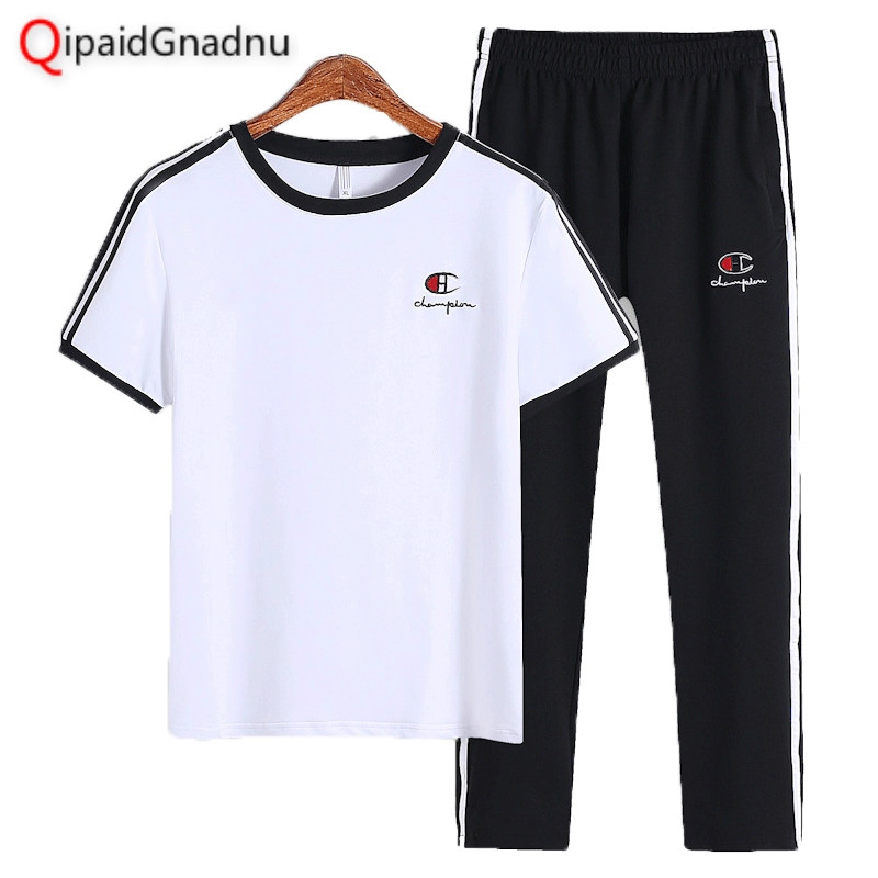 2019 Big Size 7XL Spring Summer Men's Sets T Shirts+pants Two Pieces Sets Casual Tracksuit Male Tshirt Sport Trousers Men Brand