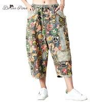BelineRosa Plus Size Women Pants Autumn New Harem Pants Character Printing Kawaii Denim Large Size Pants