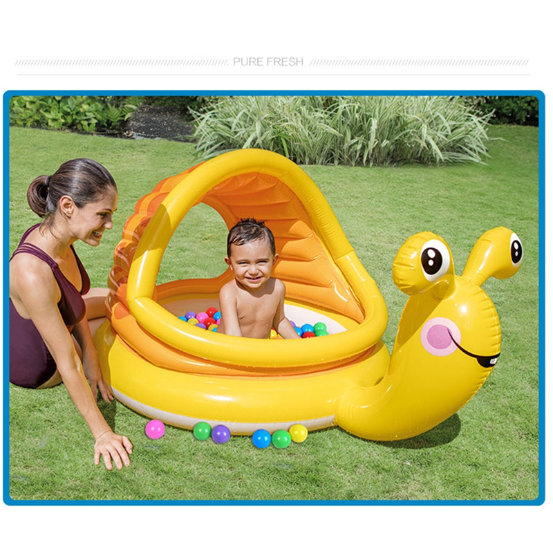 Amusant enfants été piscine d'eau enfants en plein air piscine sûre coussin doux Portable bassin d'eau avec parasol pour les enfants