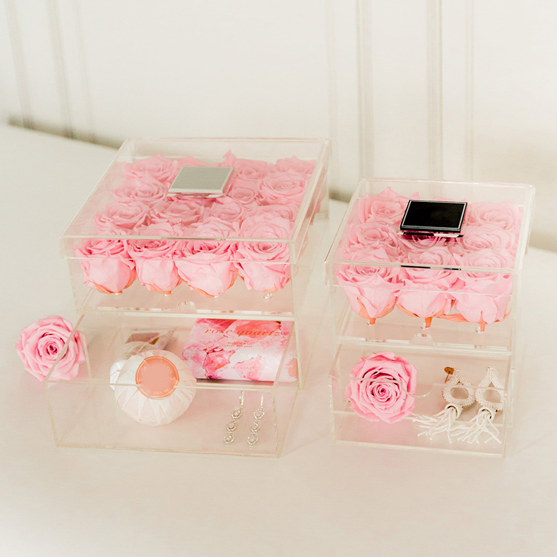 Pink Storage Bins Girls Flower Drawers Chest Dresser: Clear Acrylic Pink Rose Box Cosmetic Case Makeup Organizer