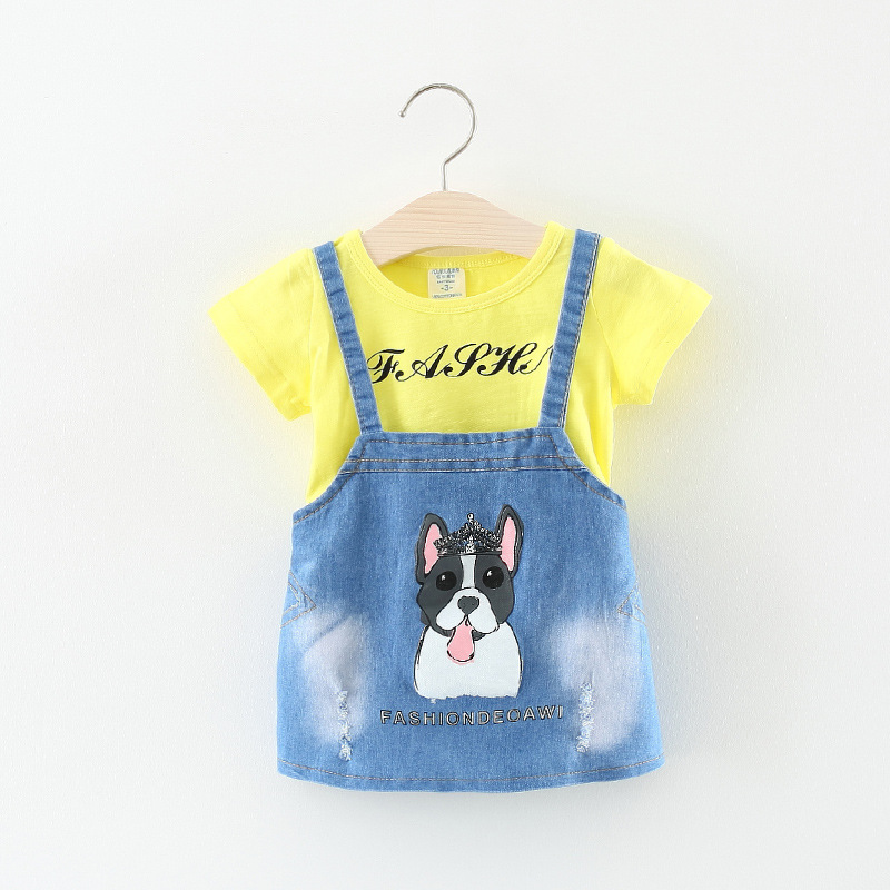 Summer 2018, new childrens wear, girls jeans, s, babies, cute puppies, two kinds of childrens s.