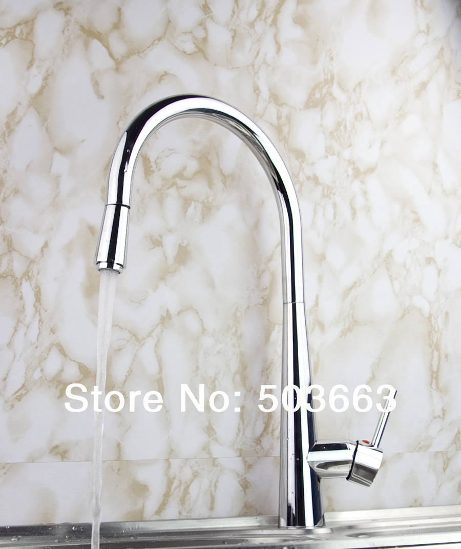 New Pull out Swivel Chrome Brass Kitchen Faucet Spout Vessel Basin Sink Single Handle Deck Mounted Mixer Tap MF-446 led spout swivel spout kitchen faucet vessel sink mixer tap chrome finish solid brass free shipping hot sale