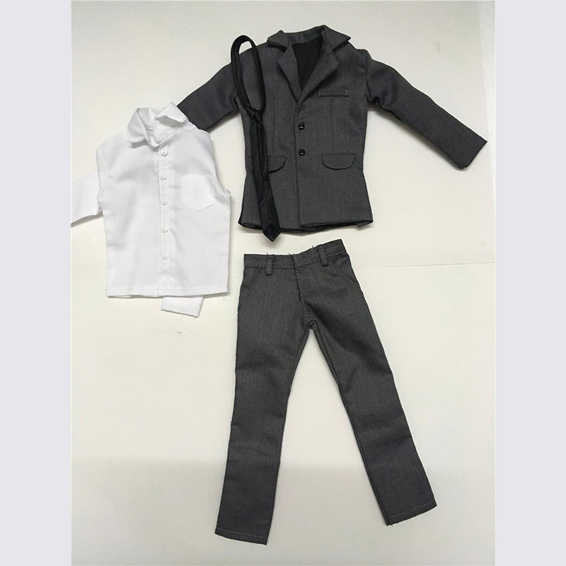 1/6 Male Grey Clothes Suit Coat Pants White Shirt With Tie Models For 12'' Action Figures Bodies