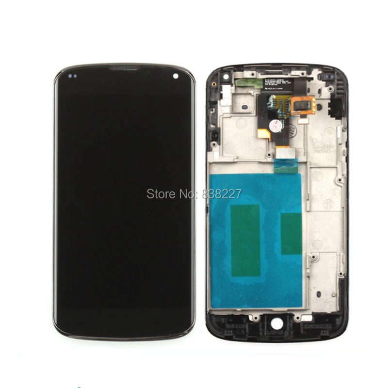 For lg e960 google nexus 4 lcd display panel + touch screen digitizer assembly with frame Replacement Parts Free shipping new lcd touch screen digitizer with frame assembly for lg google nexus 5 d820 d821 free shipping