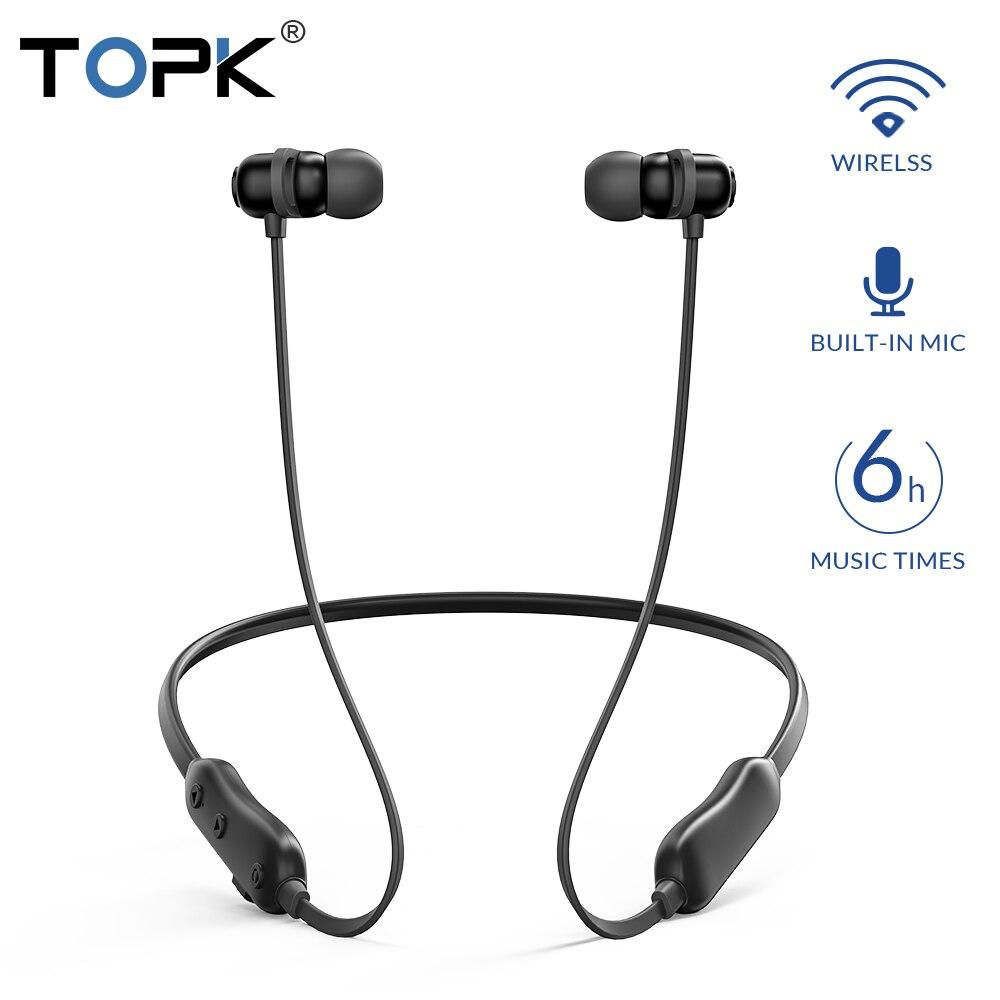TOPK Neckband Fones De Ouvido Bluetooth Fones De Ouvido Sem Fio Magnético Handsfree fones de ouvido sem fio Esporte fone de ouvido Estéreo fone de ouvido com Microfone