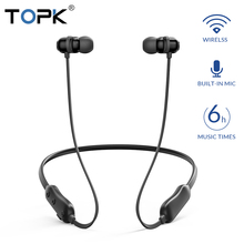 цена на TOPK Wireless Headphones Bluetooth Earphones Magnetic Neckband wireless earbuds Handsfree Stereo Sport earphone with Microphone
