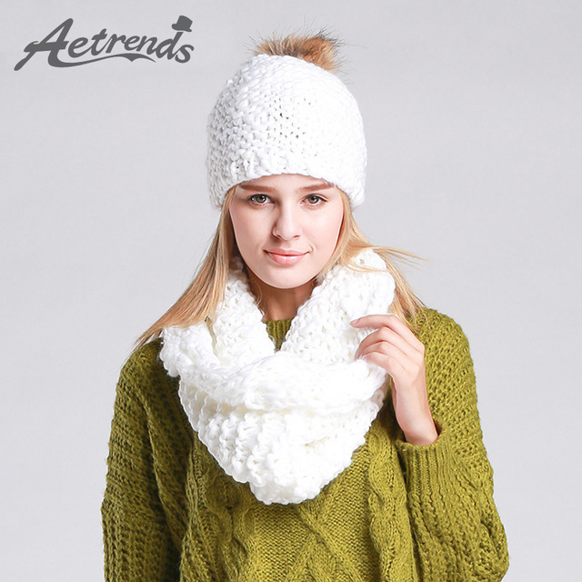 [AETRENDS] 2016  High Quality Winter Caps with Scarves Knitted Sets Women Beanie Hats Scarf Z-1335