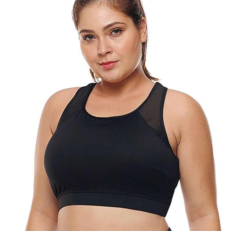 a7b4fb31c7b L-3XL Women Plus Size Sports Bra High Impact Fitness Yoga Running  SportsWear Push Up
