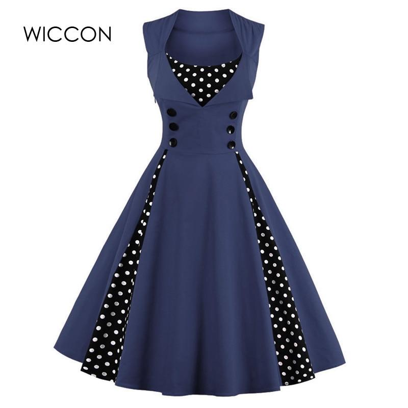 WICCON Vintage Sweet Women Dress Ärmlös Polka Dot 2018Summer Party - Damkläder - Foto 4