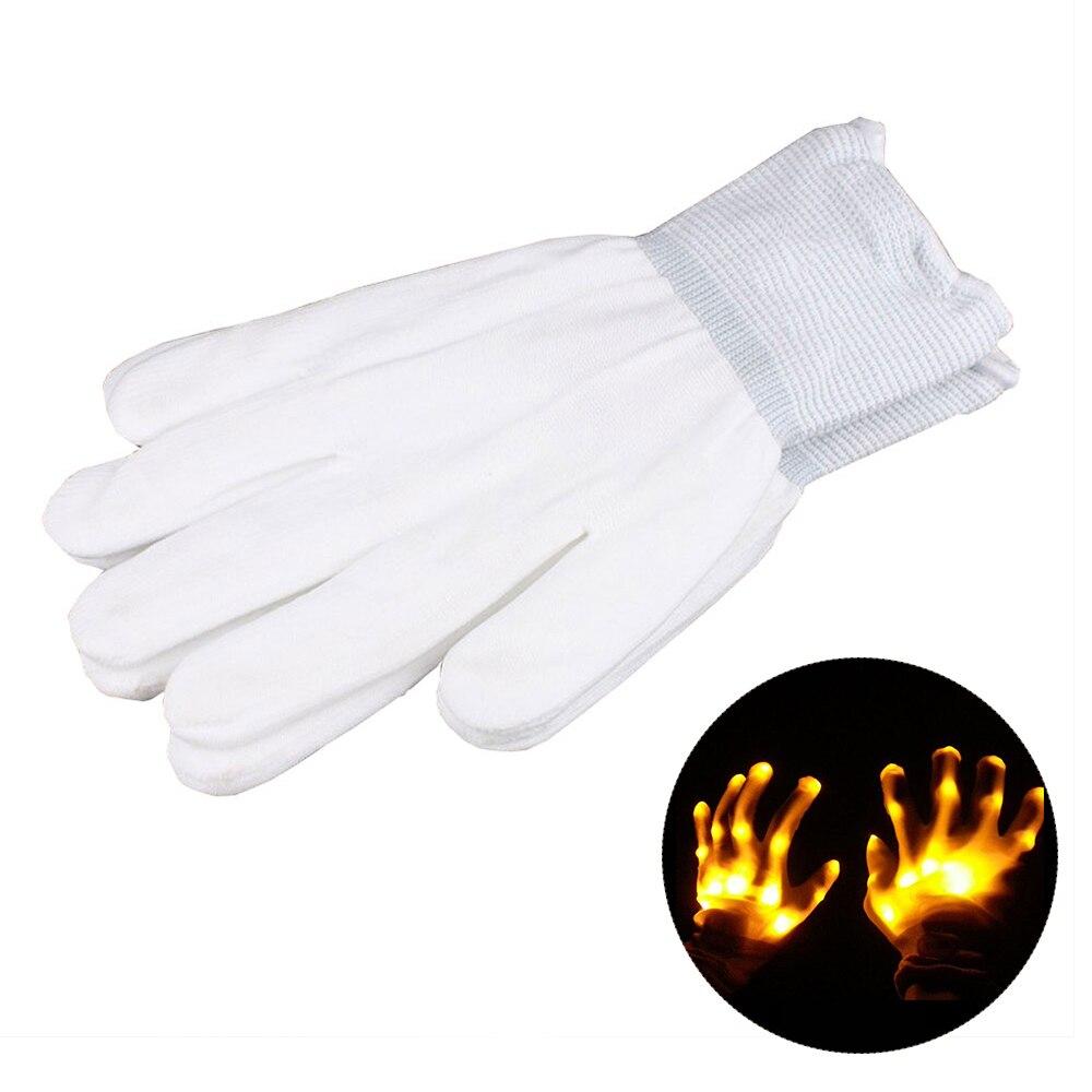 1 пара супер яркие перчатки со светодиодами для вечерние диско DJ для праздника фестиваль светодиодные перчатки светящиеся легкие перчатки Забавный дом - Цвет: Цвет: желтый
