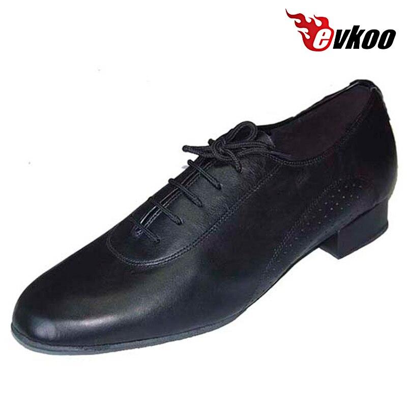 ФОТО Patent Or Genuine Leather Man's Modern Dance Shoes 2.5 Cm Low Heel Handmade Dance Shoes Evkoo-300