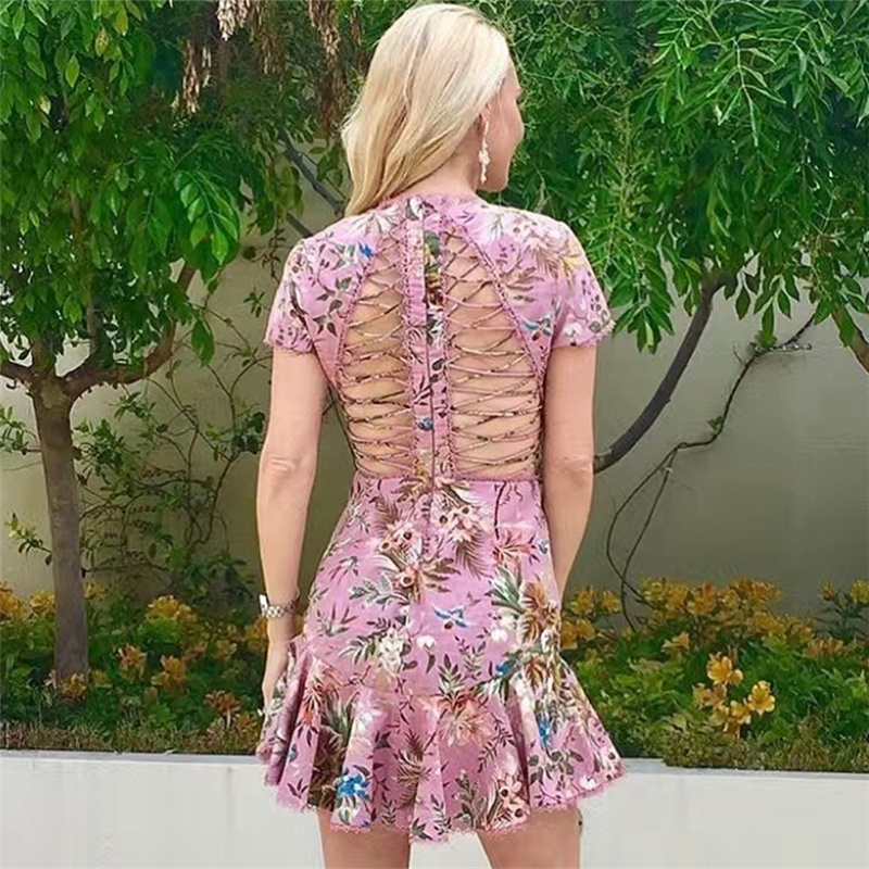 Summer Dress 2017 Woman Sexy cutout cross bandage Pink Floral Printed fish tail Mini Party Dress