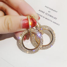 New Arrival Creative Gold Shiny Crystal Earrings for Women Korean Drop Earrings Rhinstone Round Wedding Earrings Jewellery Gift(China)