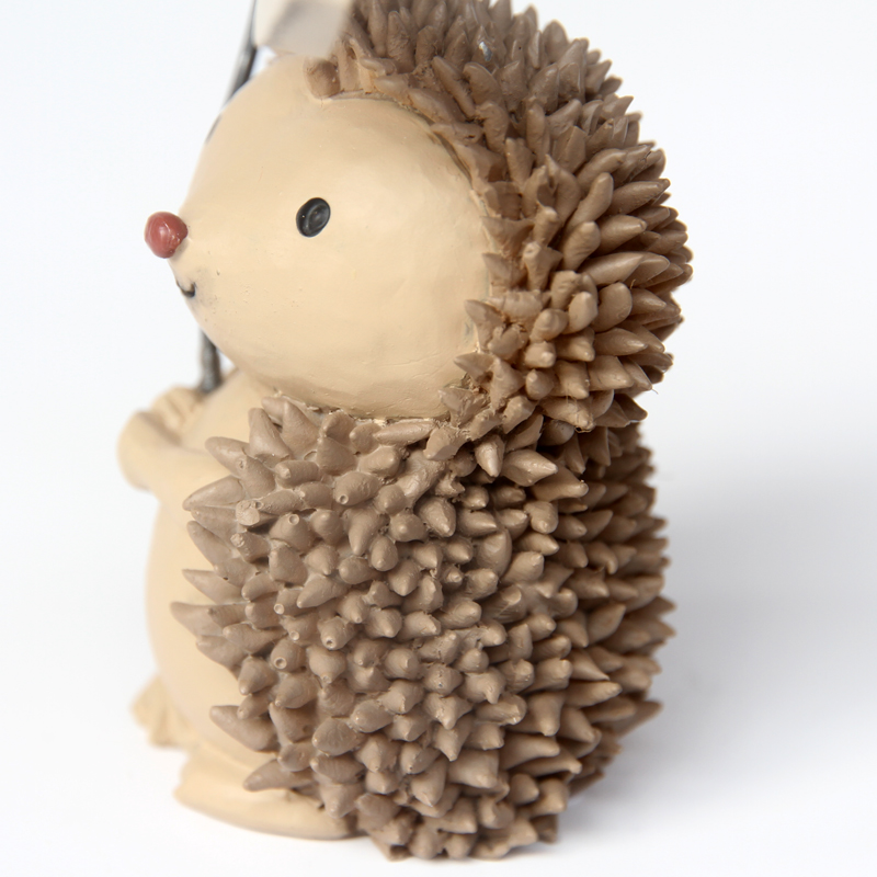 Resin Cute Miniature Hedgehog Figurines Red Nose Fairy Garden Animal Statue Desk Office Ornament Gift for Childre and Students in Figurines Miniatures from Home Garden