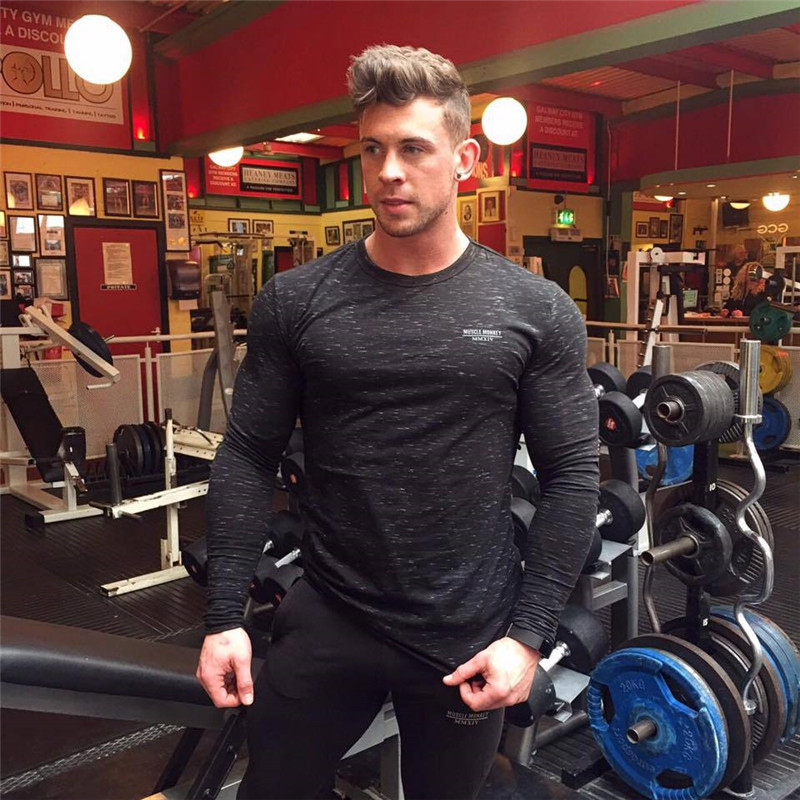 Brand New Clothing Gyms male Tight Cotton Long Sleeve T-shirt Mens Fitness Homme T Shirt Men Workout Summer Tees