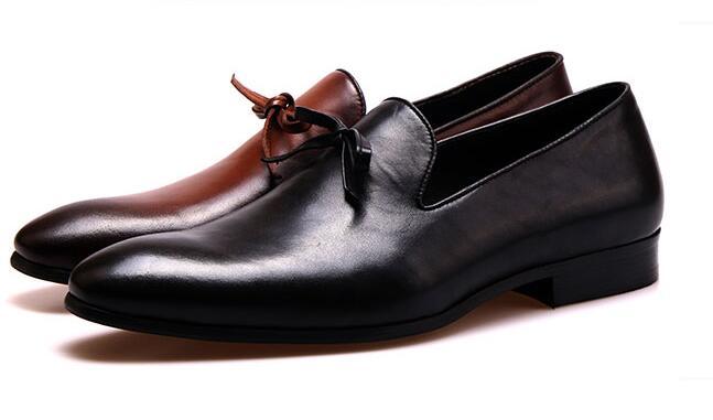 Hombres Inglaterra Casuales Holgazán Cuero on Nueva De Del Perezosos Retro Negro chocolate Slip Suave Zapatos Negocio Ewqwx1vC