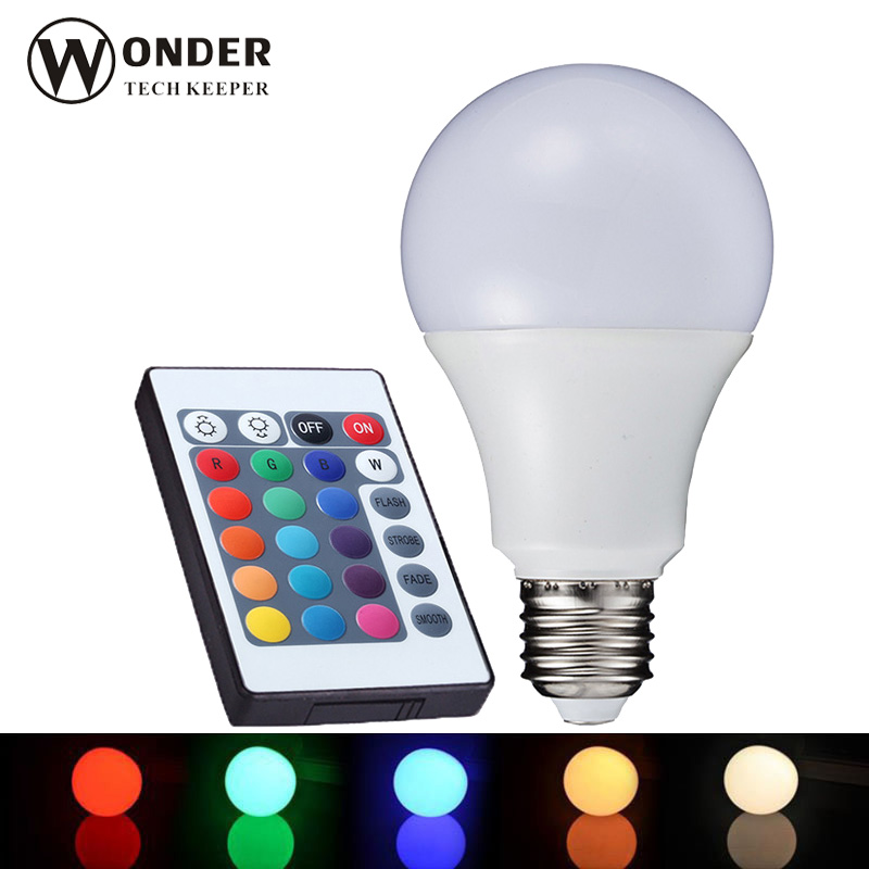 E27 LED RGB  bulbs 3W 5W 10W  rgb globe bulbs lamp AC86-265V rgb spot lights 16 changeable colors +24 keys remote controller e27 led rgb bulbs 3w 5w 10w rgb globe