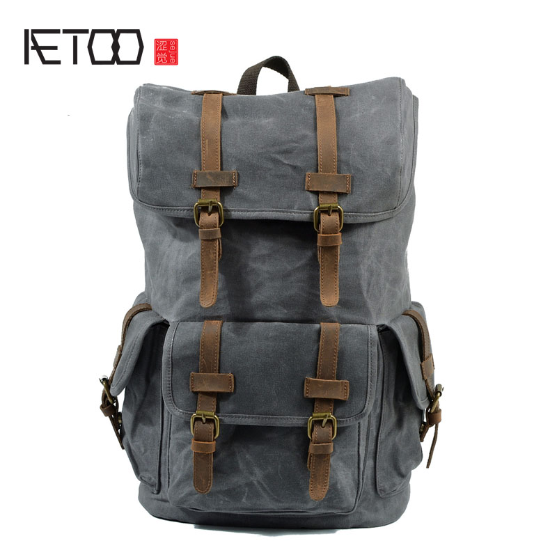 AETOO Retro waterproof oil wax canvas travel backpack student bag large capacity mountaineering shoulder bag man bag