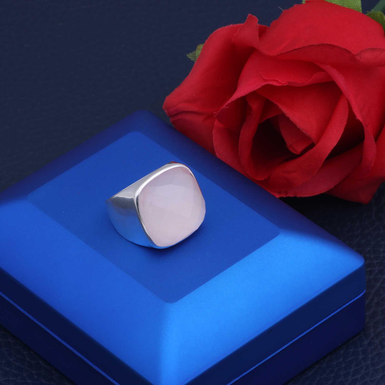 MetJakt Chính Hãng Quảng Trường Tự Nhiên Đá 21.24ct Rose Quartz Nhẫn Rắn 925 Sterling Silver Nhẫn đối với Phụ Nữ Dịp Đồ Trang Sức Mỹ