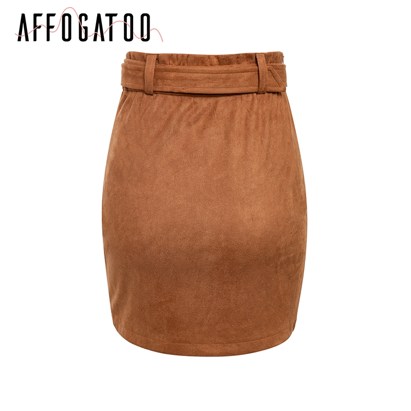 Affogatoo High waist suede leather skirts 18 Autumn winter belt ruched bodycon skirt Women asymmetric short skirts female 12