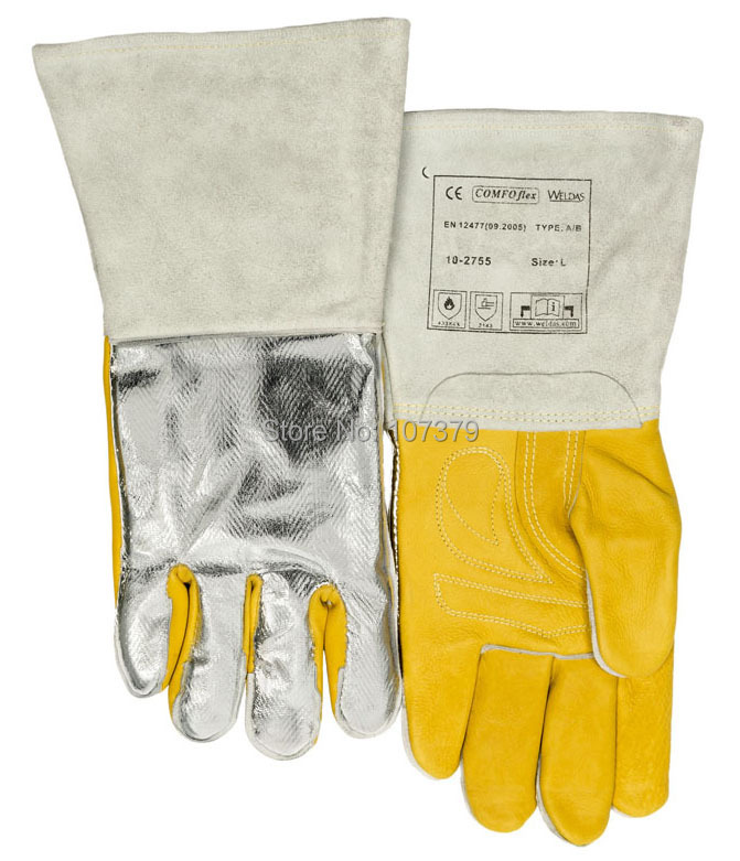 350 degree Celsius Heat Resistant Work Glove TIG MIG Grain Cow Leather Welding Safety Glove leather safety glove deluxe tig mig leather welding glove comfoflex leather driver work glove