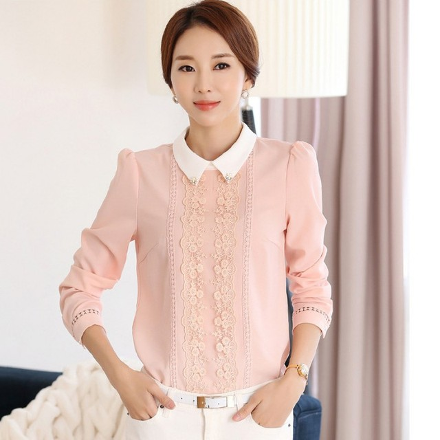 3f96d39fa6b3f Fashion Women s max white Peter pan Collar blouse Tops female Long Sleeve  Casual office lace Autumn Summer Blouse RT5