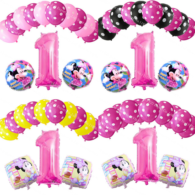 13pcs 1 Years Old Foil Balloon Decorations Newborn Baby Girl Boy Gifts Birthday Party Celebration