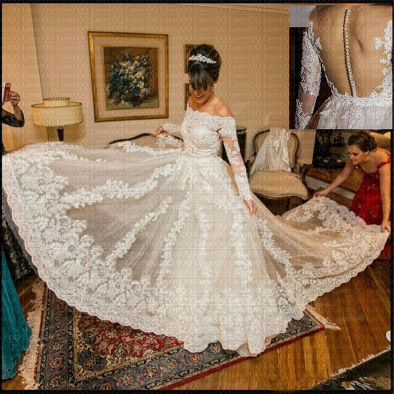 Luxury Lace Off Shoulder Vestido De Noiva 2019 Long Sleeves Wedding Dress Robe De Marriage Bridal Gowns