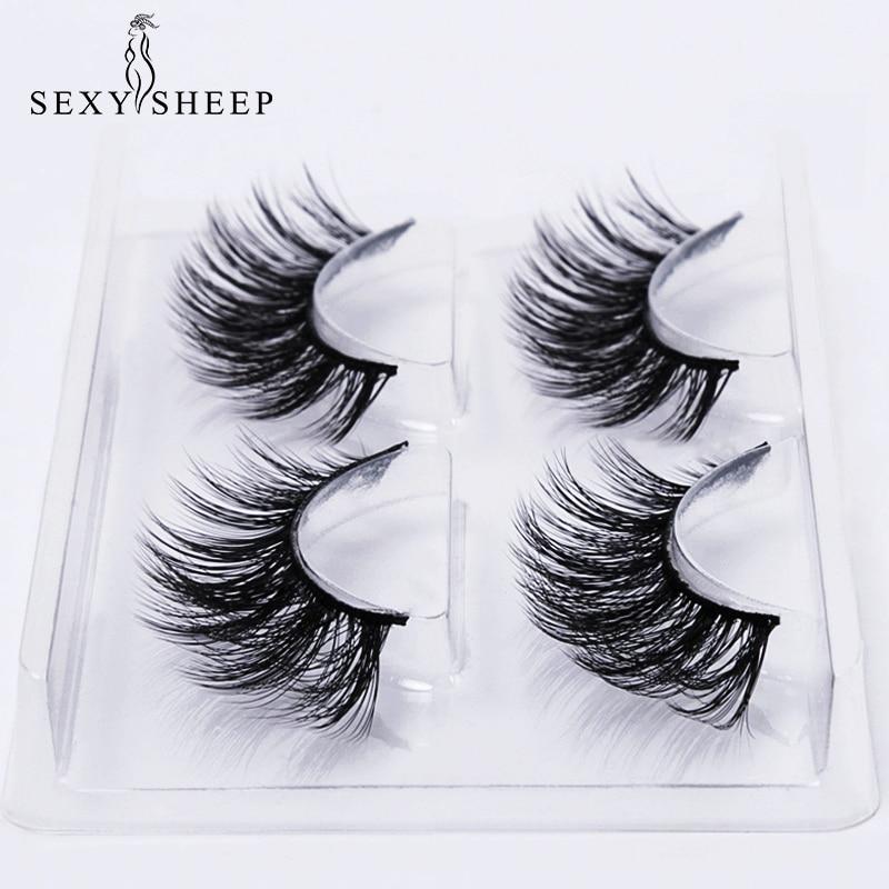 SEXYSHEEP 2 Pairs 3D Mink Lashes Natural Long False Eyelashes Volume Fake Lashes Makeup Eyelash Extension Silk Eyelashes
