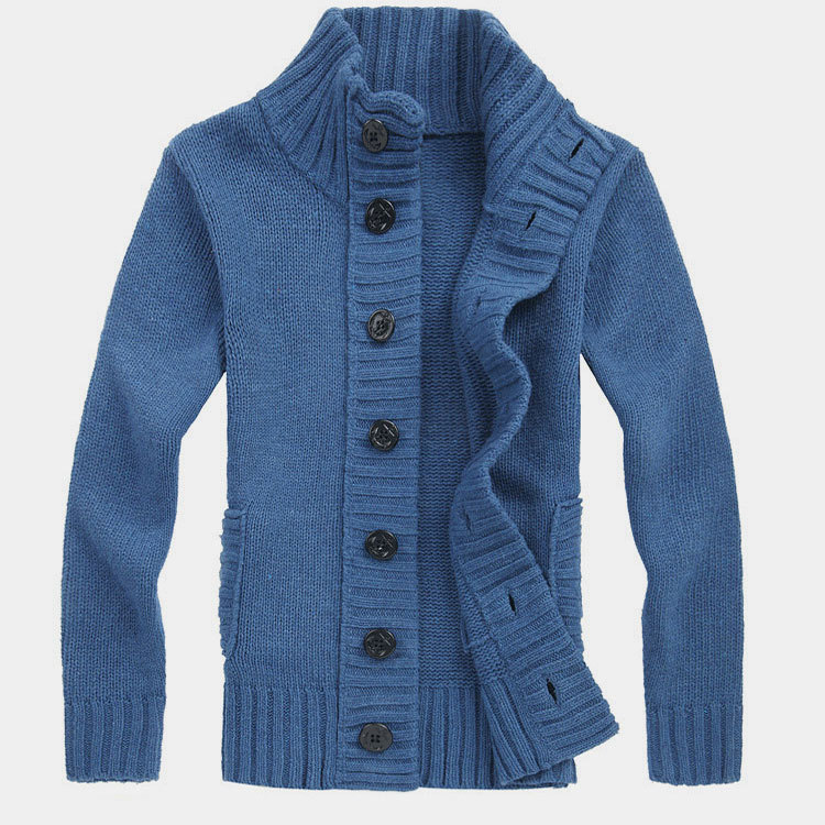 Мужской свитер с воротником-стойкой, осенне-зимний вязаный свитер