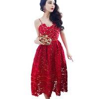 2017 Soluble Lace Dresses Women Sexy V Neck Strappy Celebrity inspired Dresses Elegant Runway Dresses Vestidos Largos De Verano