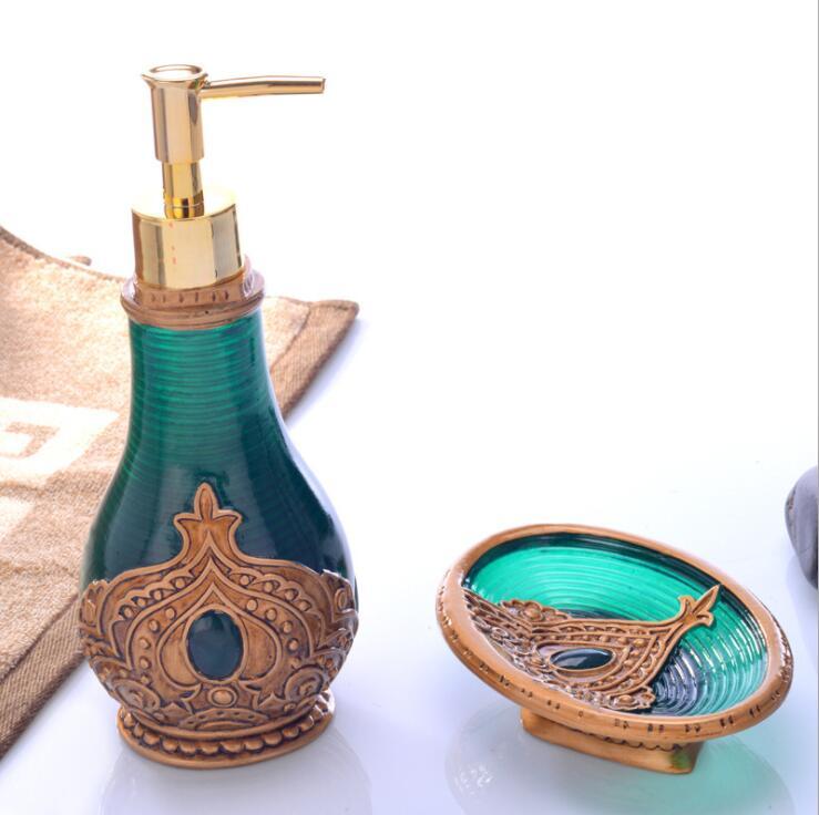 Bathroom Set Creative European Resin Soap Dispensers Box Two Piece Accessories Moroccan Style Decor