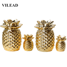 цена на VILEAD 5.1'' 2.5'' Ceramic Gold Plating Pineapple Figurines Fruit Model Decoration Creative Gift for Girl Kids Vitage Home Decor