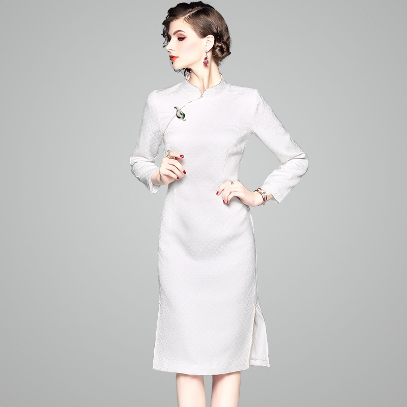 01ef6f2f1d1a0 White Elegant Business Jacquard Dress - LILIANNES