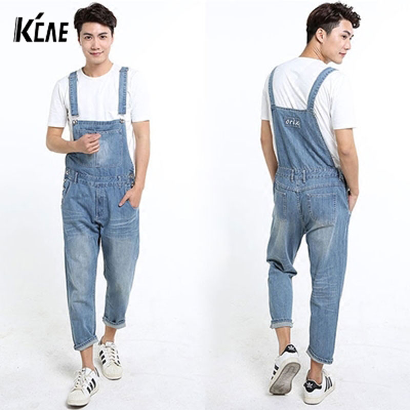 ФОТО 2016 New Brand Summer New Mens Overalls Denim Jeans Pants Calf-Length Cargo Pants Loose Casual Trousers Plus Size XS-5XL