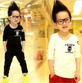 Free shipping 2016new style Boy's T-shirts skull printing white Black Children Long-Sleeved T Shirts Kids Clothes Shirts A259