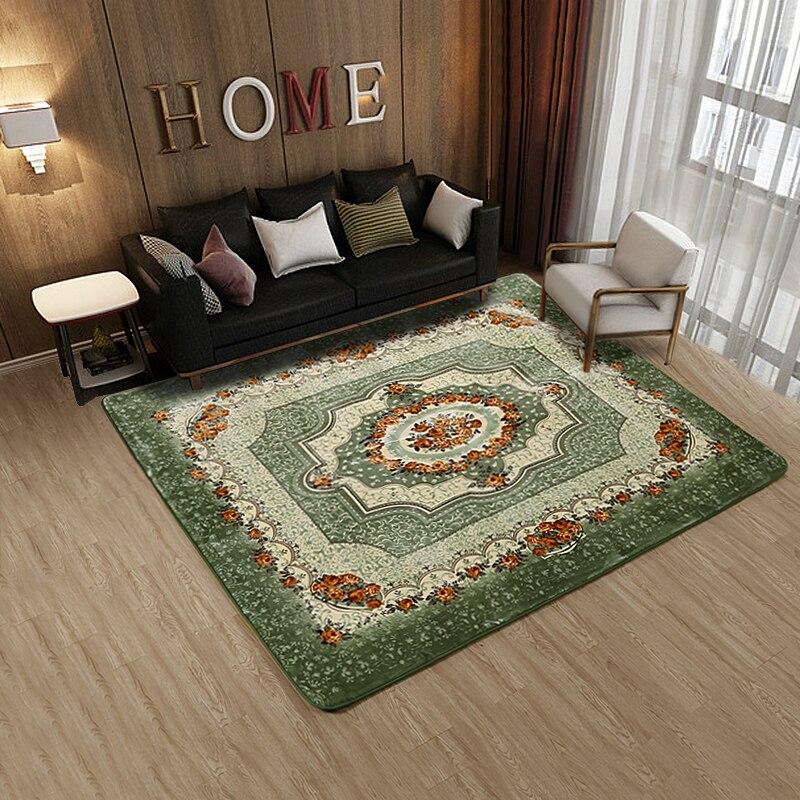 Tapis de salon nordique tapis en coton haute densité style européen canapé table basse couverture chambre chevet tapis de sol