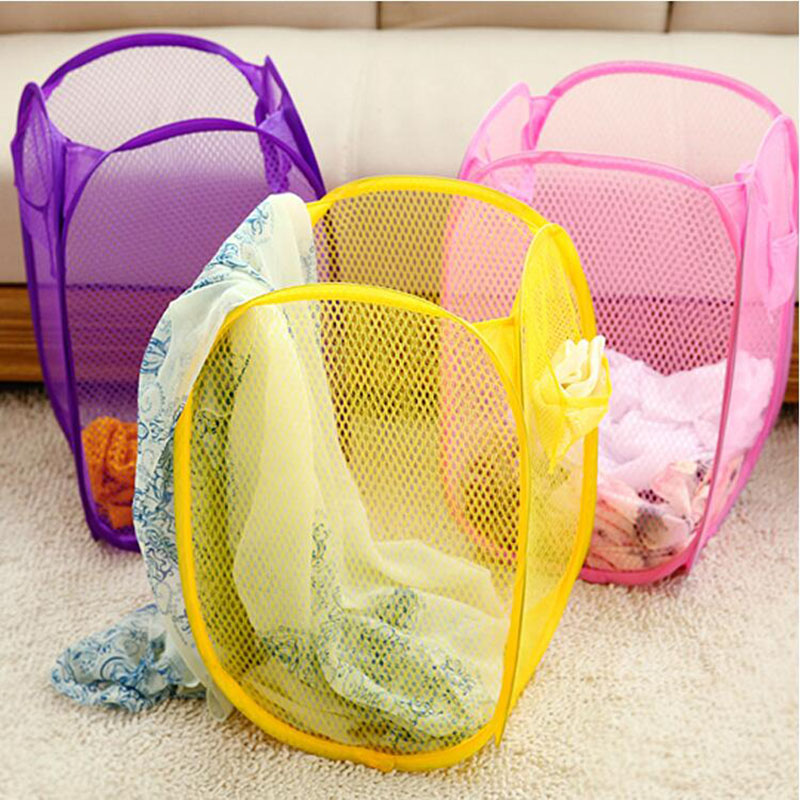 Seluna Folding Laundry Basket Dirty Clothing Laundry Storage Bag Cute Fabric Washing Basket Portable Candy Color Bucket Hot Sale