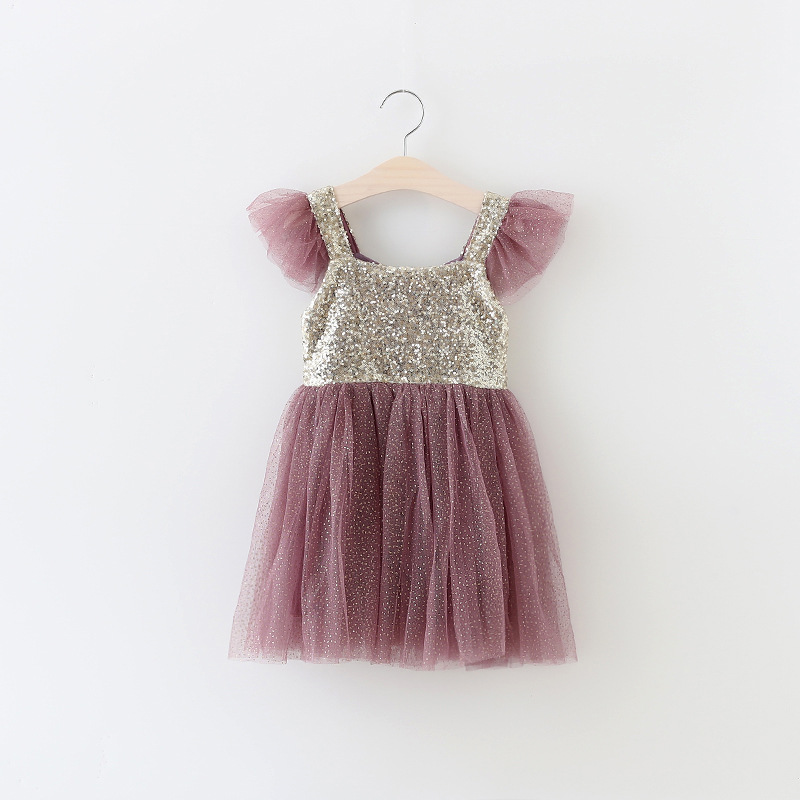 Free shipping little girls Pink gorgeous Sequin princess tutus Princess summer  party Holiday dress Sparkly Summer Style bd722eddcbd2