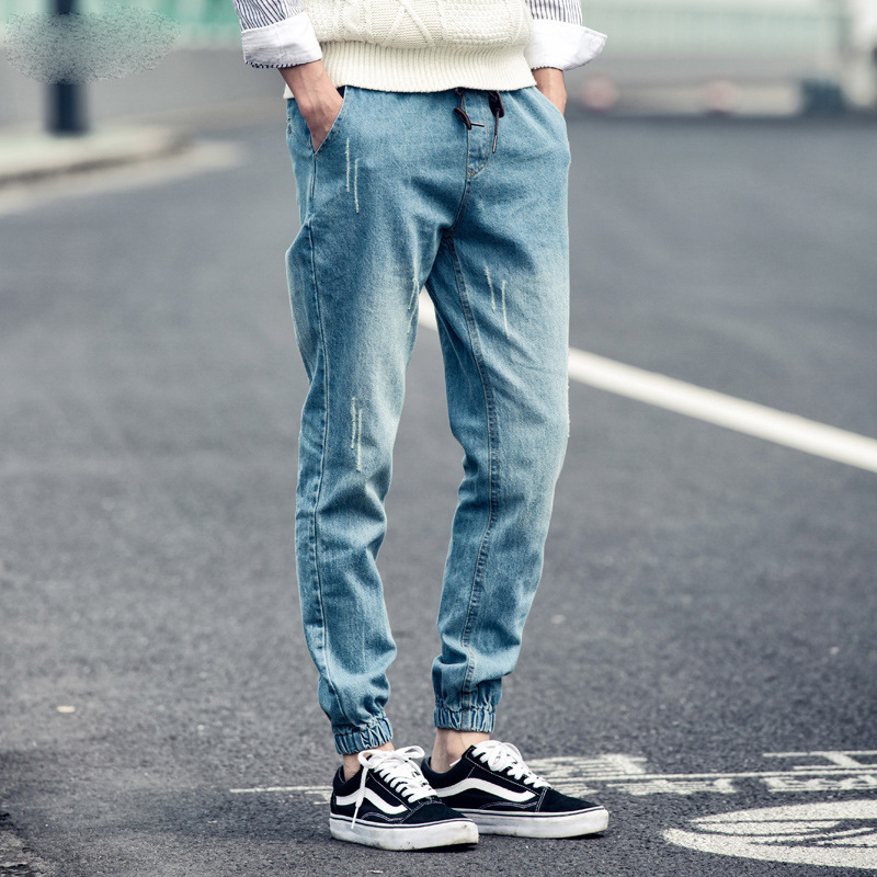 2019 Men's Casual Loose Autumn Harlan Denim Cotton Hip Hop Loose Work Trousers Jeans Male Elastic Waist Jeans Pants