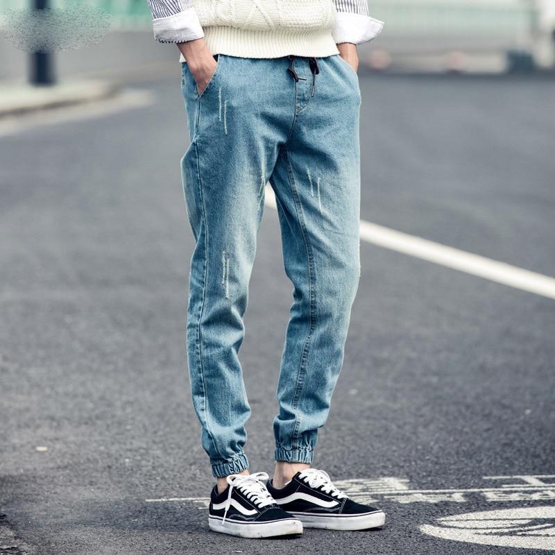 2019 Men's Casual Loose Autumn Harlan Denim Cotton Hip Hop Loose Work Trousers Jeans Male Elastic Waist Jeans Pants